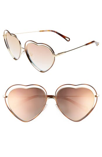 Women's Chloe Poppy Love Heart Sunglasses - Havana/ Brown Peach