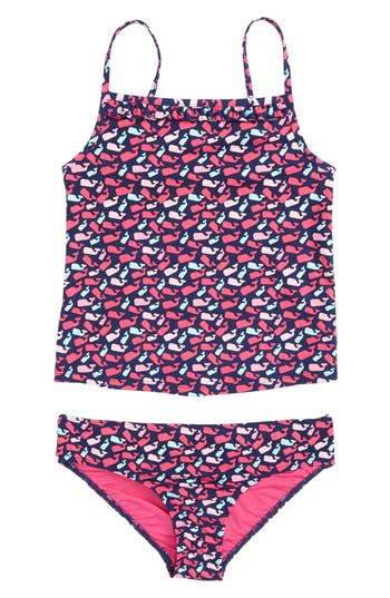 Girl's Vineyard Vines Scattered Whale Two-Piece Tankini Swimsuit, Size XS (5-6) - Blue