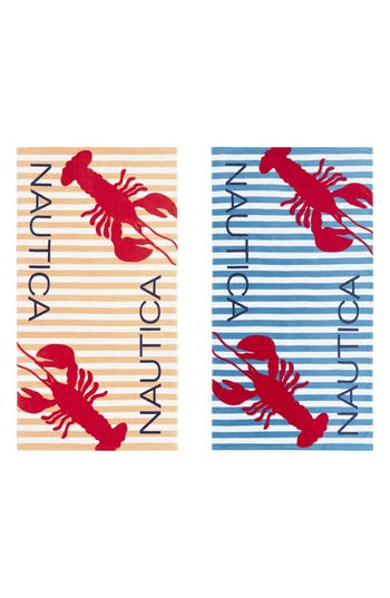 Nautica Twin Lobster Set Of 2 Beach Towels, Size One Size - Blue