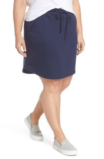 Plus Size Gibson X Living In Yellow Cassidy French Terry Skirt, Blue