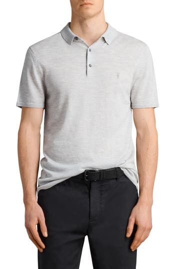 Allsaints Mode Slim Fit Merino Wool Polo, Grey