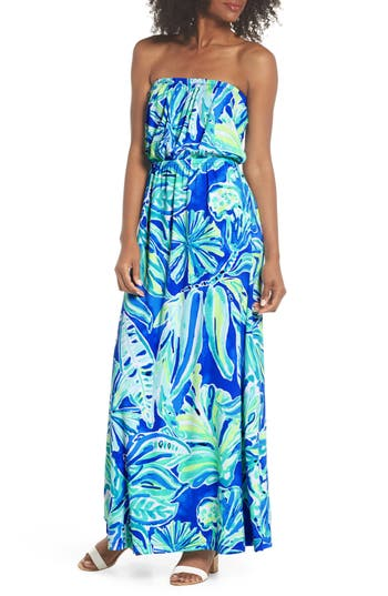Lilly Pulitzer Marlisa Strapless Maxi Dress, Blue/green