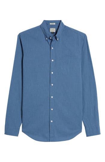 Big & Tall J.crew Slim Fit Stretch Secret Wash Poplin Sport Shirt, Blue