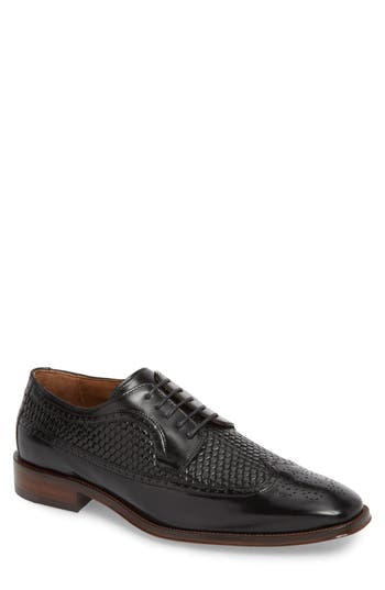 Johnston & Murphy Boydstun Woven Wingtip Derby, Black