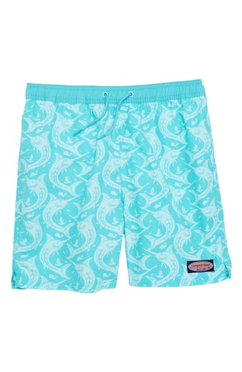 Boys Vineyard Vines Marlin Out Of Water Swim Trunks Size 5  Bluegreen