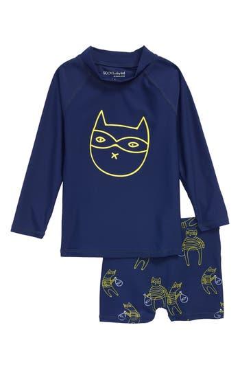 Toddler Boys Sookibaby Cat Bandit TwoPiece Rashgaurd Swimsuit