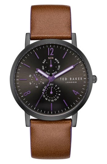 Ted Baker London Graham Leather Strap Watch, 40mm