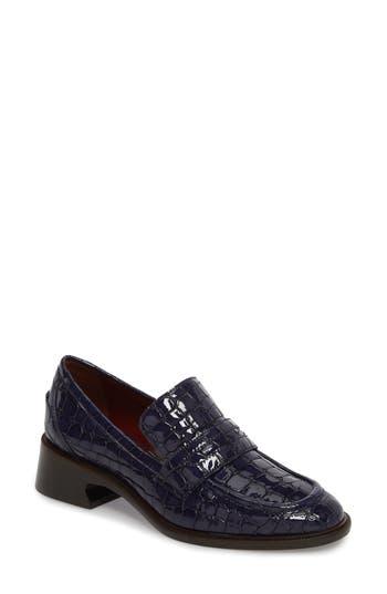 Sies Marjan Croc Embossed Loafer, Blue