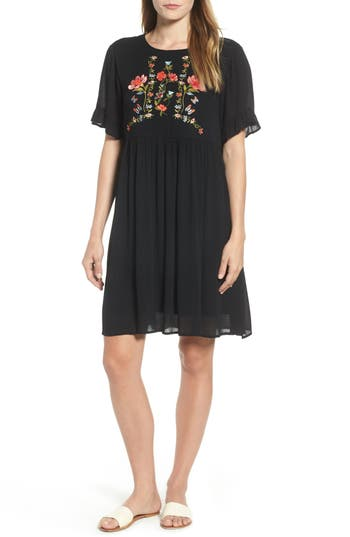 petite women's everleigh embroidered dress, size small p - black