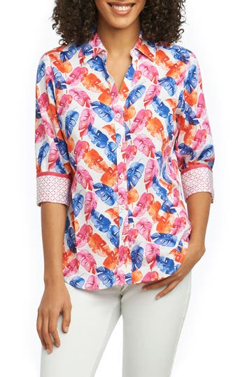 FOXCROFT MARY LAYERED PALMS WRINKLE FREE SHIRT