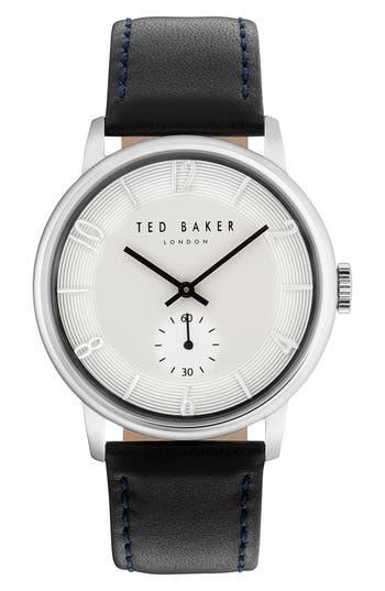 Ted Baker London Daniel Leather Strap Watch, 42mm