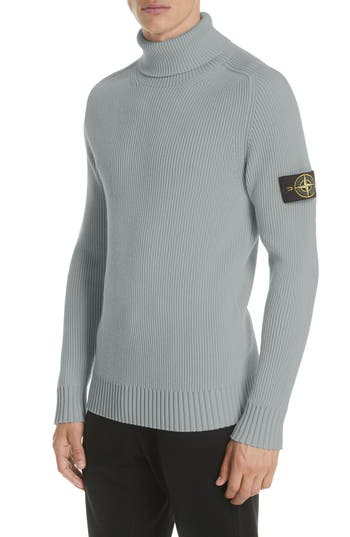 Men's Stone Island Ribbed Wool Turtleneck Sweater, Size Small - Grey
