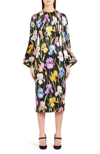 DOLCE & GABBANA IRIS PRINT STRETCH SATIN DRESS