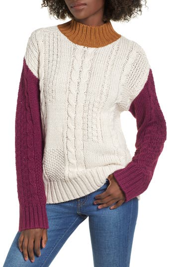 BP. Colorblock Cable Knit Pullover
