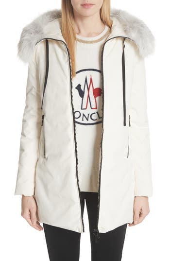 Moncler Bartramifur Hooded Down Coat with Removable Genuine Fox Fur Trim