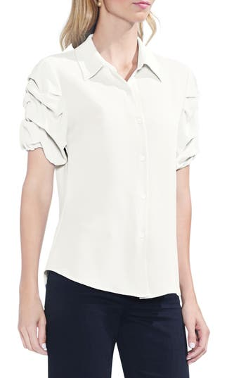 Women's Vince Camuto Puff Sleeve Button Down Blouse, Size X-Small - White