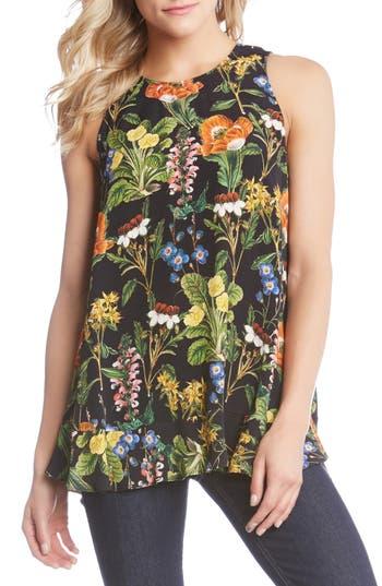 Women's Karen Kane Botanical Floral Tank Top, Size X-Small - Black