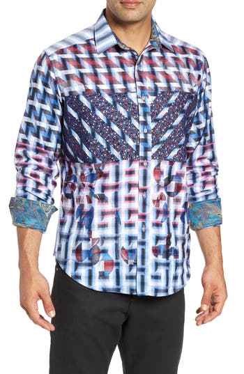 Men's Robert Graham The Steejo Limited Edition Classic Fit Sport Shirt, Size Small - Blue