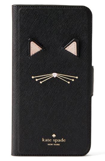 kate spade new york cat appliqué iPhone 7/8 & 7/8 Plus folio case