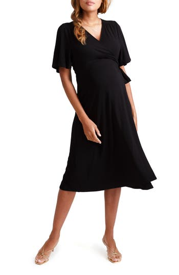 Ingrid & Isabel® Flutter Sleeve Knit Wrap Maternity/Nursing Dress