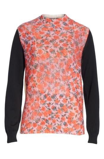 Tricot Comme des Garçons Rose Print Wool Blend Sweater