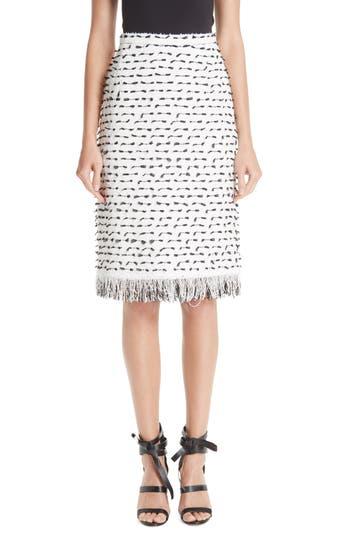 Oscar de la Renta Fil Coupé Tweed Pencil Skirt