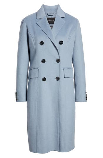 Women's Tahari Taylor Double Breasted Wool Coat, Size X-Small - Blue
