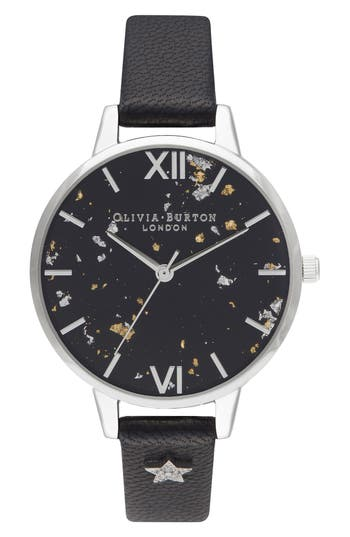 Olivia Burton Celestial Leather Strap Watch, 34mm