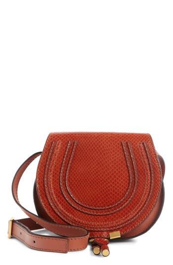 Chloé Mini Marcie Snake Embossed Leather Saddle Bag