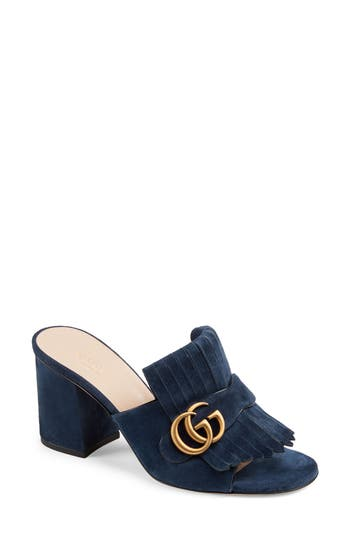 Gucci GG Marmont Peep Toe Mule