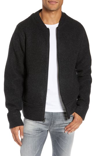 Schott NYC Waffle Stitch Zip Front Wool Blend Sweater