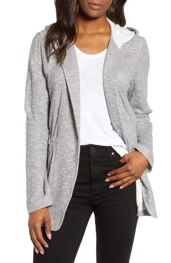 Caslon® Open Front Hooded Cardigan