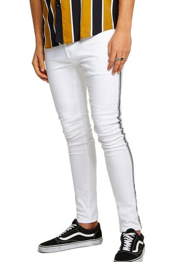Topman Side Taping Spray-On Skinny Fit Jeans