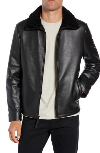 Calibrate Leather Jacket with Genuine Shearling Collar