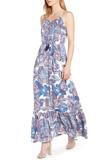 1.STATE Crystal Flowers Print Maxi Dress
