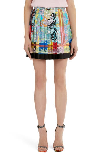 Versace First Line Mixed Pastel Print Pleated Silk Skirt