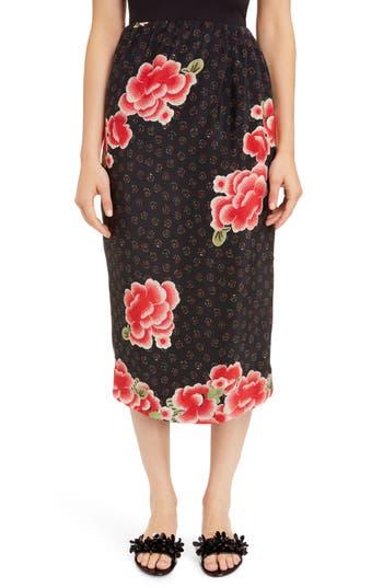Simone Rocha Floral Silk Pencil Skirt