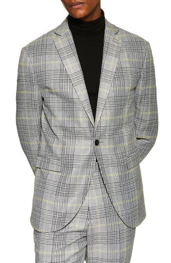 Topman Single Breasted Check Slim Suit Jacket