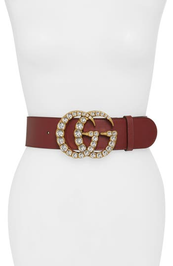 Gucci GG Marmont Crystal Embellished Leather Belt