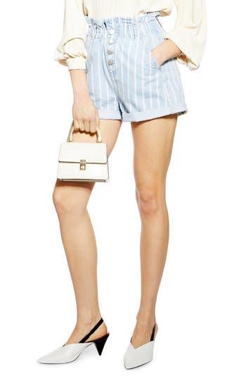 Topshop Stripe Denim Paperbag Shorts