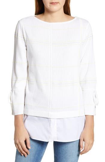 Ming Wang Plaid Jacquard Tunic Sweater
