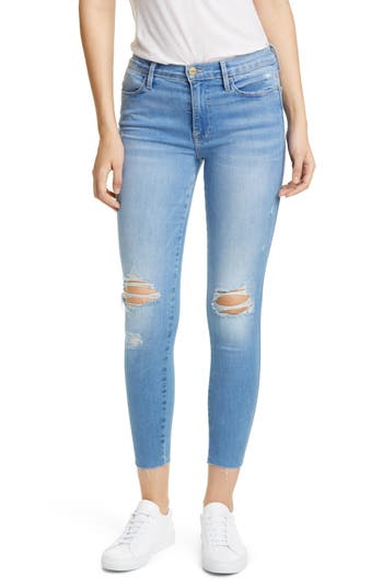FRAME Le High Ripped Raw Hem Ankle Skinny Jeans (Daze)