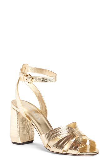 Prada Lizard Embossed Ankle Strap Sandal (Women)