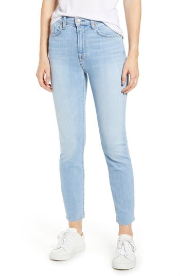 7 For All Mankind® Roxanne High Waist Raw Hem Ankle Slim Jeans (Roxy Lights)
