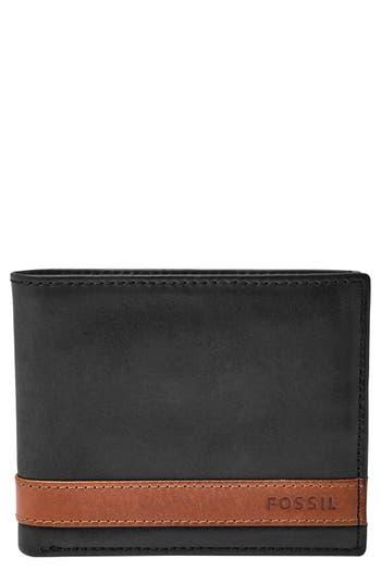 Men's Fossil 'Quinn' Leather Bifold Wallet - Black