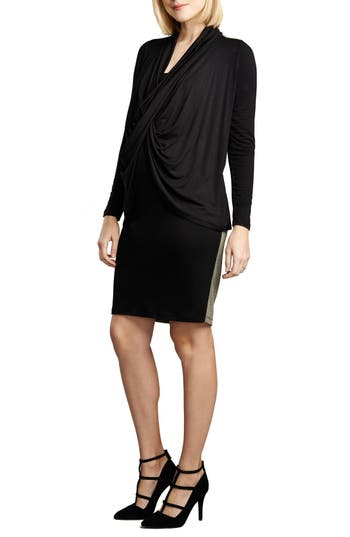 Maternal America Front Drape Nursing Dress, Black
