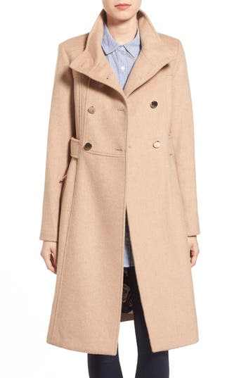 Women's Eliza J Wool Blend Long Military Coat, Size 14 - Beige
