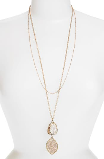 Women's Panacea Stone & Beaded Crystal Pendant Layered Necklace