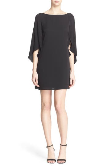 Milly Butterfly Sleeve Stretch Silk Crepe Minidress, Black