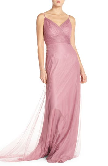 Monique Lhuillier Bridesmaids Surplice Tulle Gown